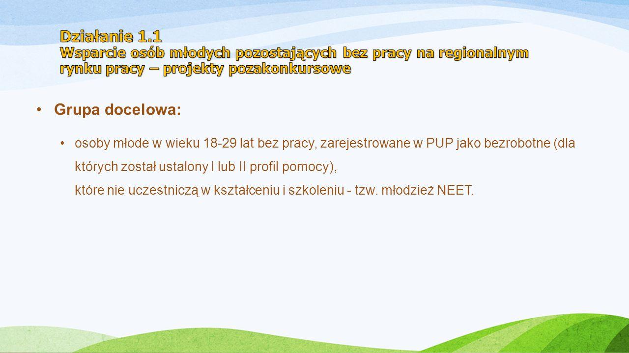 Grupa docelowa: osoby młode w wieku 18-29 lat bez pracy, zarejestrowane w PUP jako bezrobotne (dla których został ustalony I lub II profil pomocy), które nie uczestniczą w kształceniu i szkoleniu - tzw.