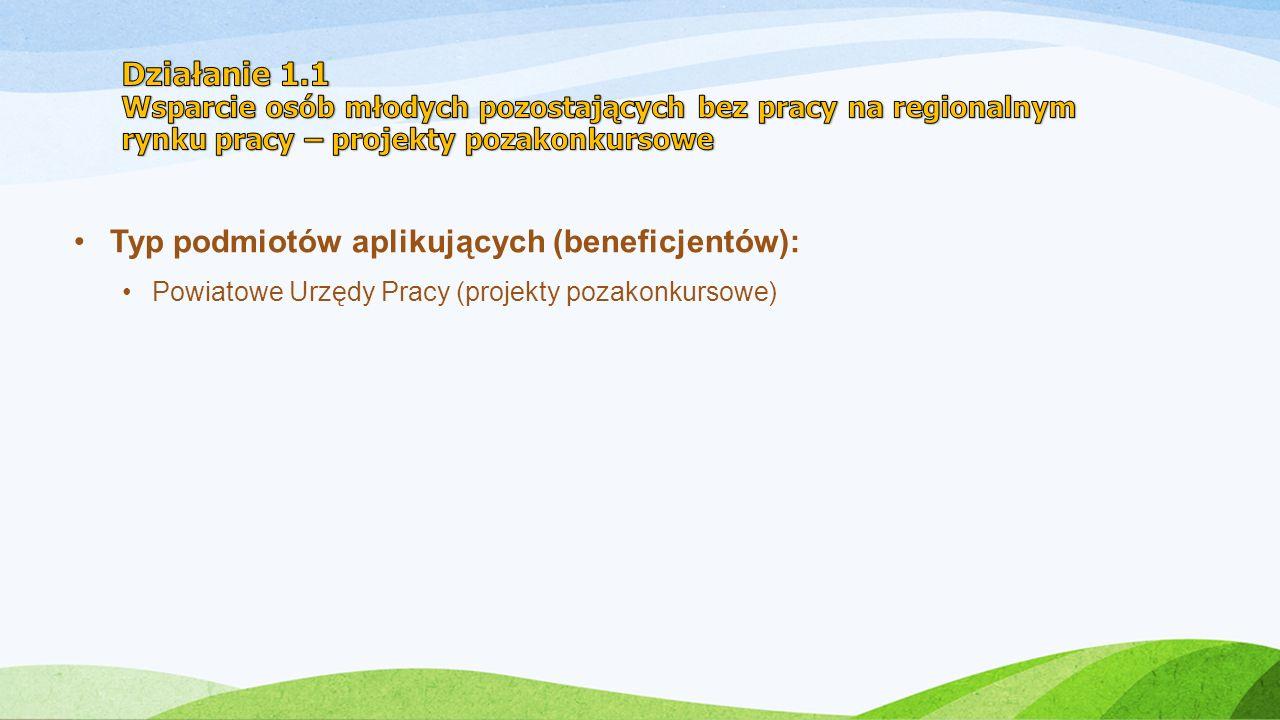 Typ podmiotów aplikujących (beneficjentów): Powiatowe Urzędy Pracy (projekty pozakonkursowe)