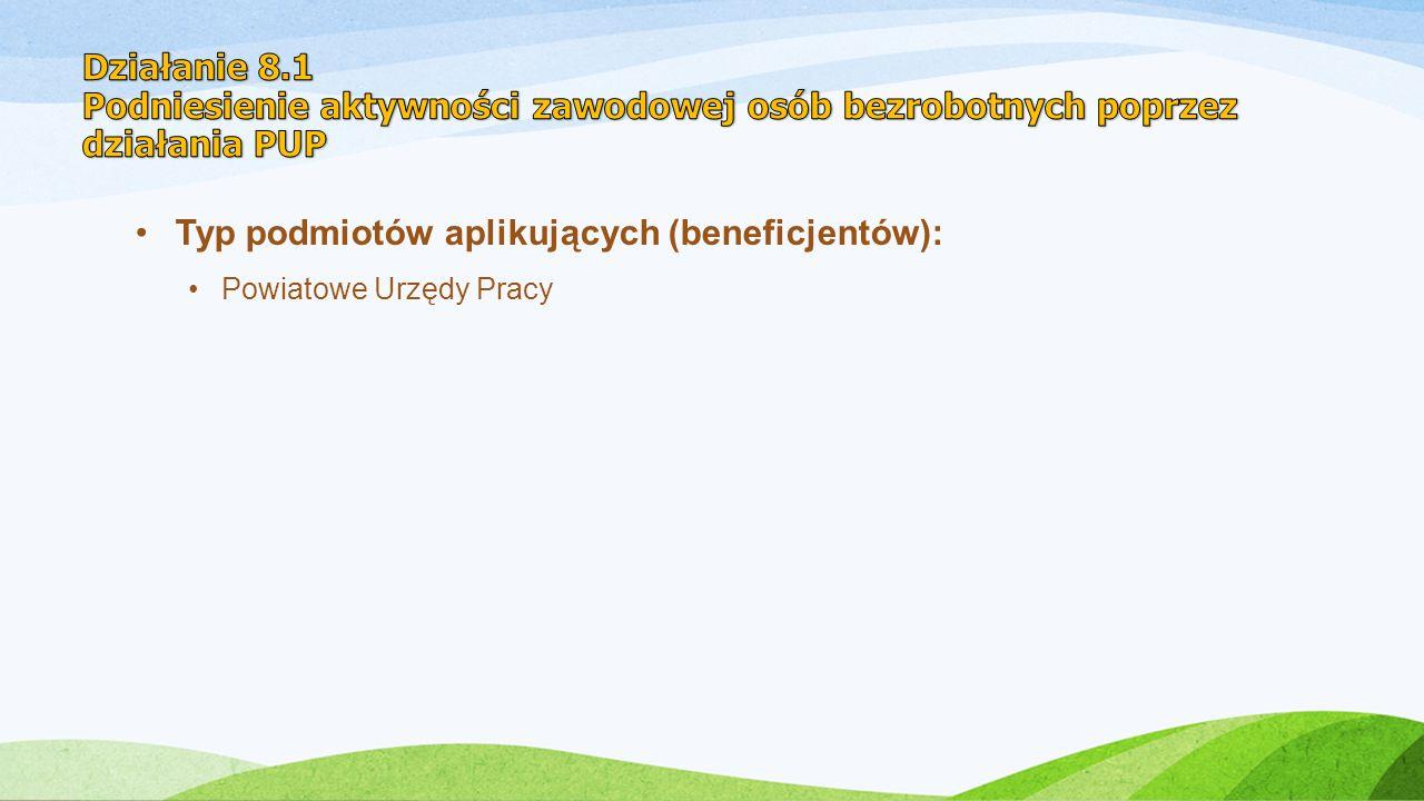 Typ podmiotów aplikujących (beneficjentów): Powiatowe Urzędy Pracy