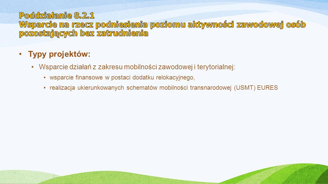 Typy projektów: Wsparcie działań z zakresu mobilności zawodowej i terytorialnej: wsparcie finansowe w postaci dodatku relokacyjnego, realizacja ukierunkowanych schematów mobilności transnarodowej (USMT) EURES