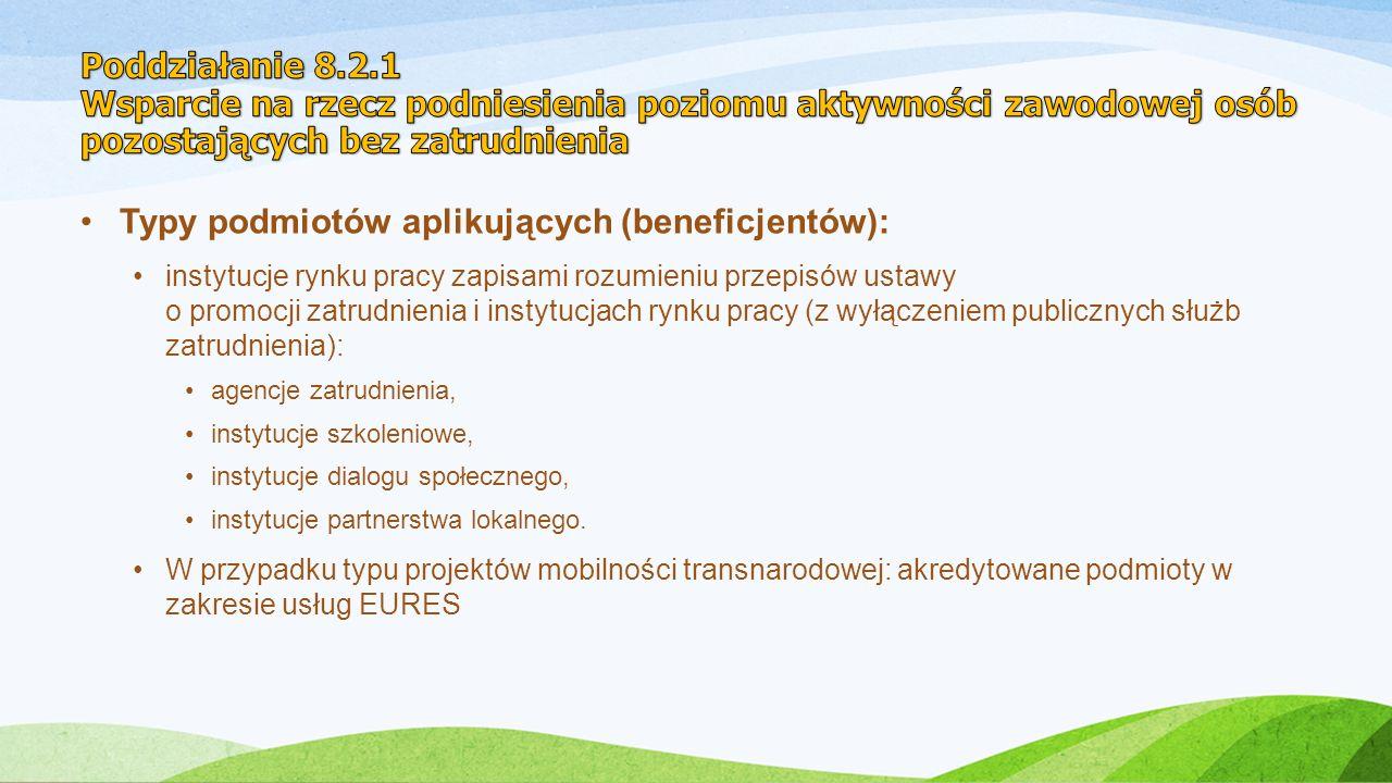 Typy podmiotów aplikujących (beneficjentów): instytucje rynku pracy zapisami rozumieniu przepisów ustawy o promocji zatrudnienia i instytucjach rynku pracy (z wyłączeniem publicznych służb zatrudnienia): agencje zatrudnienia, instytucje szkoleniowe, instytucje dialogu społecznego, instytucje partnerstwa lokalnego.