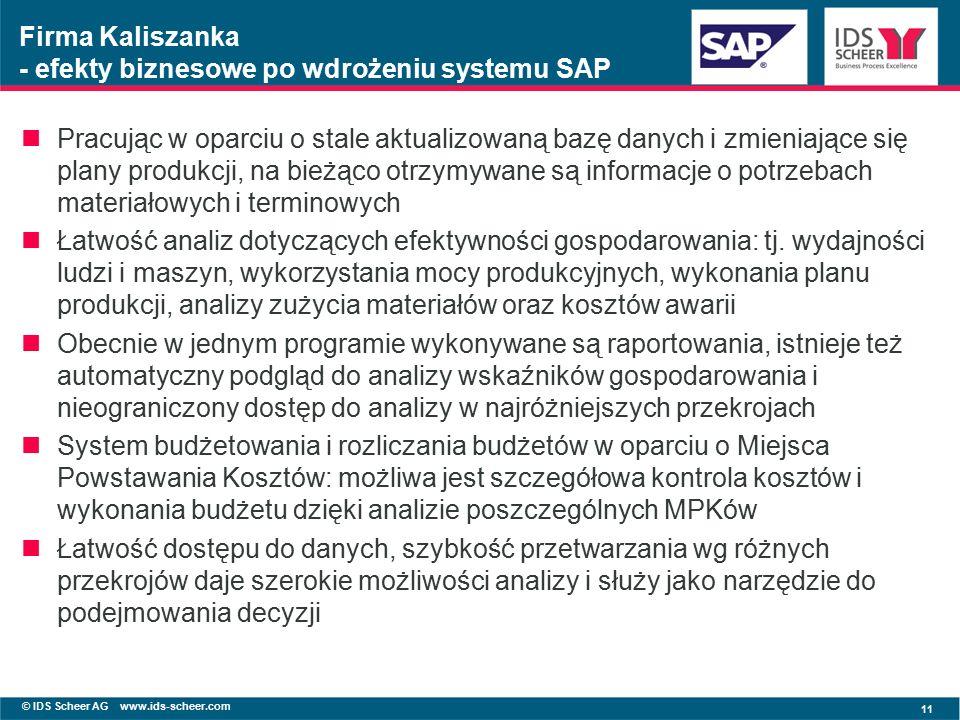 © IDS Scheer AG www.ids-scheer.com 11 Firma Kaliszanka - efekty biznesowe po wdrożeniu systemu SAP Pracując w oparciu o stale aktualizowaną bazę danych i zmieniające się plany produkcji, na bieżąco otrzymywane są informacje o potrzebach materiałowych i terminowych Łatwość analiz dotyczących efektywności gospodarowania: tj.