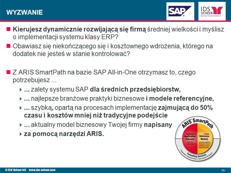 © IDS Scheer AG www.ids-scheer.com 13 © IDS Scheer AG www.ids-scheer.com WYZWANIE Kierujesz dynamicznie rozwijającą się firmą średniej wielkości i myślisz o implementacji systemu klasy ERP.
