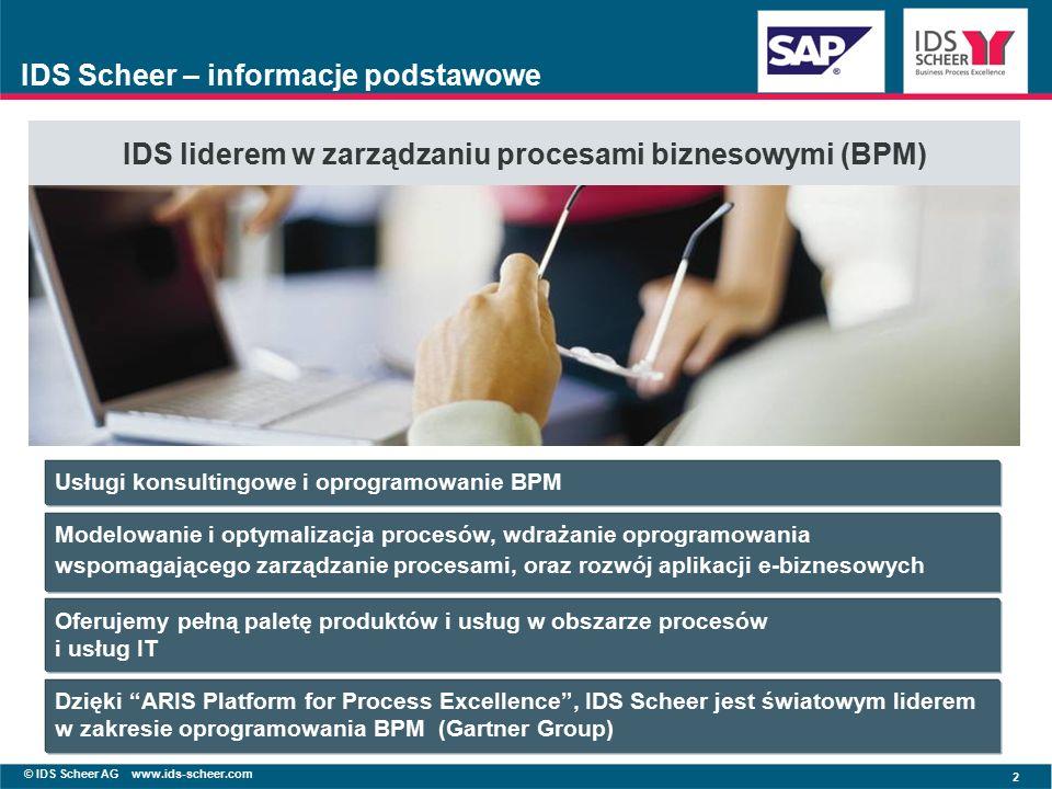 © IDS Scheer AG www.ids-scheer.com 2 IDS Scheer – informacje podstawowe IDS liderem w zarządzaniu procesami biznesowymi (BPM) Usługi konsultingowe i oprogramowanie BPM Modelowanie i optymalizacja procesów, wdrażanie oprogramowania wspomagającego zarządzanie procesami, oraz rozwój aplikacji e-biznesowych Dzięki ARIS Platform for Process Excellence , IDS Scheer jest światowym liderem w zakresie oprogramowania BPM (Gartner Group) Oferujemy pełną paletę produktów i usług w obszarze procesów i usług IT