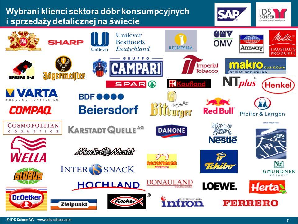 © IDS Scheer AG www.ids-scheer.com 7 Wybrani klienci sektora dóbr konsumpcyjnych i sprzedaży detalicznej na świecie