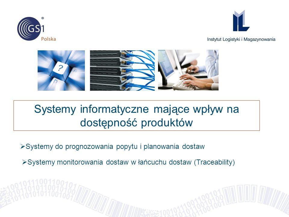 Systemy informatyczne mające wpływ na dostępność produktów  Systemy do prognozowania popytu i planowania dostaw  Systemy monitorowania dostaw w łańcuchu dostaw (Traceability)