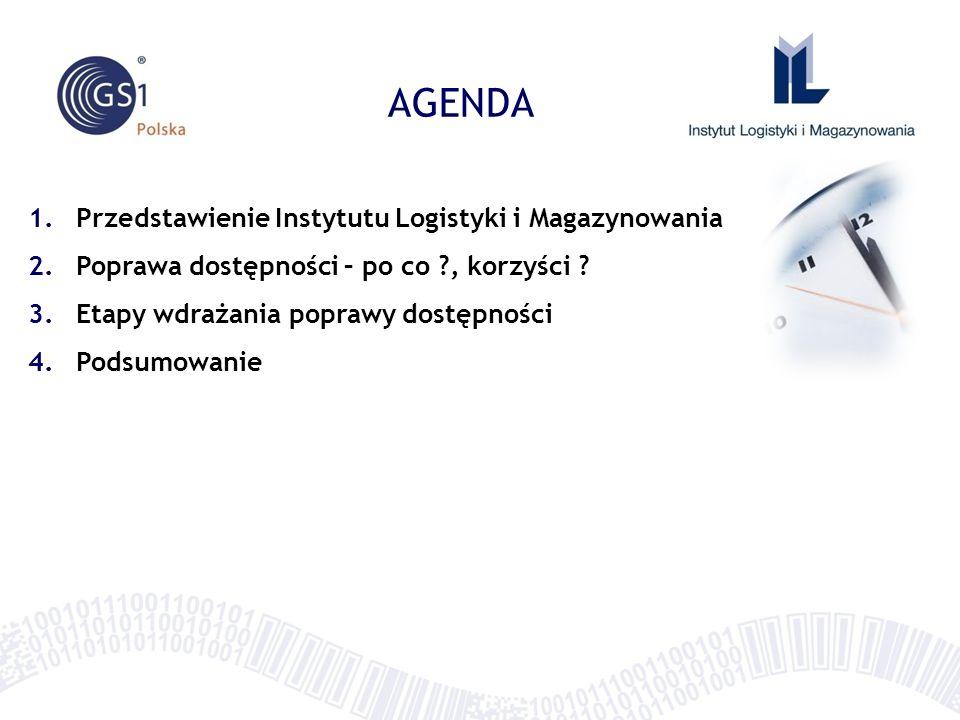 AGENDA 1.Przedstawienie Instytutu Logistyki i Magazynowania 2.Poprawa dostępności – po co ?, korzyści .