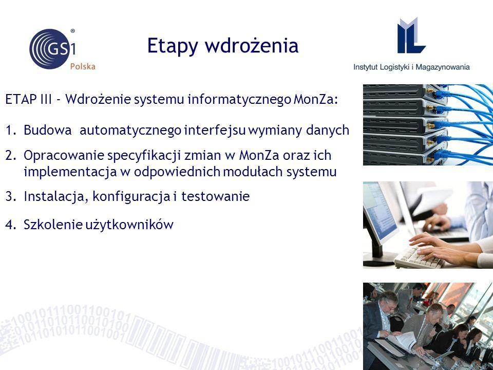 ETAP III - Wdrożenie systemu informatycznego MonZa: 1.Budowa automatycznego interfejsu wymiany danych 2.Opracowanie specyfikacji zmian w MonZa oraz ich implementacja w odpowiednich modułach systemu 3.Instalacja, konfiguracja i testowanie 4.Szkolenie użytkowników Etapy wdrożenia