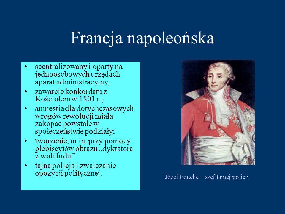 Francja napoleońska scentralizowany i oparty na jednoosobowych urzędach aparat administracyjny; zawarcie konkordatu z Kościołem w 1801 r.; amnestia dla dotychczasowych wrogów rewolucji miała zakopać powstałe w społeczeństwie podziały; tworzenie, m.in.