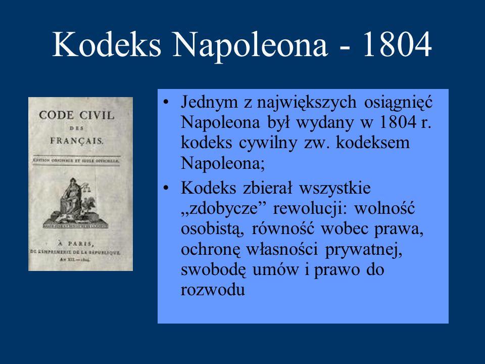 Kodeks Napoleona - 1804 Jednym z największych osiągnięć Napoleona był wydany w 1804 r. kodeks cywilny zw. kodeksem Napoleona; Kodeks zbierał wszystkie