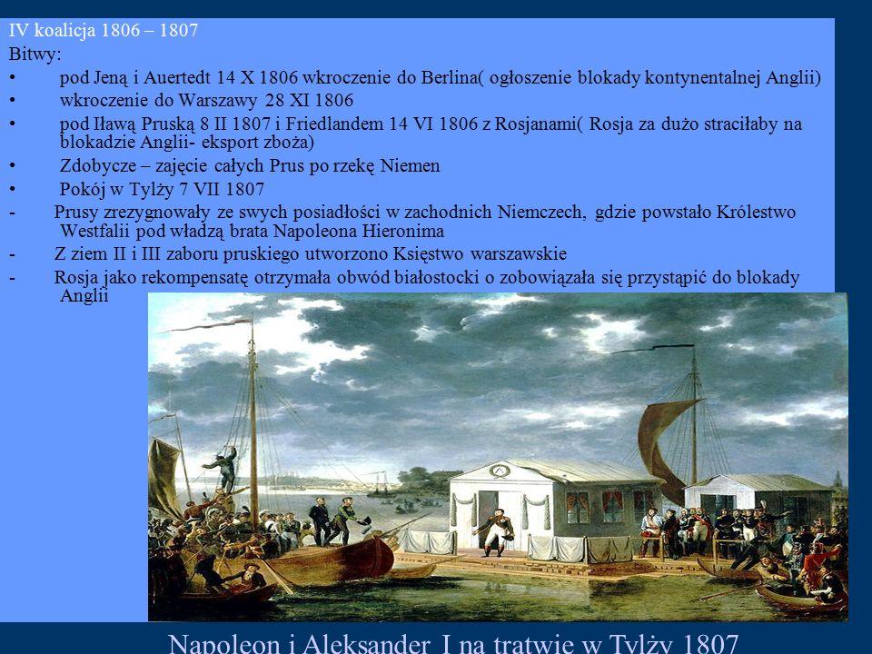 IV koalicja 1806 – 1807 Bitwy: pod Jeną i Auertedt 14 X 1806 wkroczenie do Berlina( ogłoszenie blokady kontynentalnej Anglii) wkroczenie do Warszawy 28 XI 1806 pod Iławą Pruską 8 II 1807 i Friedlandem 14 VI 1806 z Rosjanami( Rosja za dużo straciłaby na blokadzie Anglii- eksport zboża) Zdobycze – zajęcie całych Prus po rzekę Niemen Pokój w Tylży 7 VII 1807 - Prusy zrezygnowały ze swych posiadłości w zachodnich Niemczech, gdzie powstało Królestwo Westfalii pod władzą brata Napoleona Hieronima - Z ziem II i III zaboru pruskiego utworzono Księstwo warszawskie - Rosja jako rekompensatę otrzymała obwód białostocki o zobowiązała się przystąpić do blokady Anglii Napoleon i Aleksander I na tratwie w Tylży 1807
