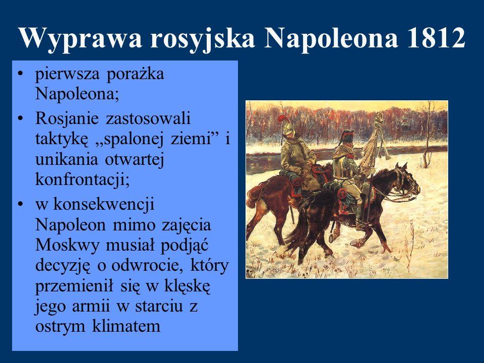 """Wyprawa rosyjska Napoleona 1812 pierwsza porażka Napoleona; Rosjanie zastosowali taktykę """"spalonej ziemi i unikania otwartej konfrontacji; w konsekwencji Napoleon mimo zajęcia Moskwy musiał podjąć decyzję o odwrocie, który przemienił się w klęskę jego armii w starciu z ostrym klimatem"""