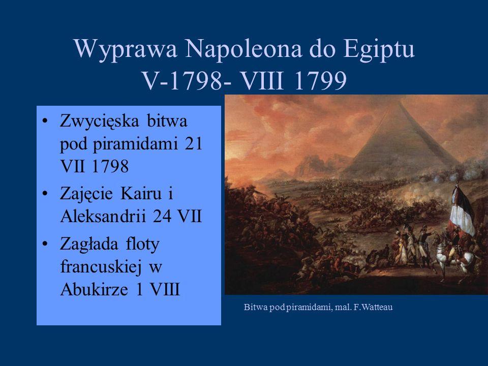 Wyprawa Napoleona do Egiptu V-1798- VIII 1799 Zwycięska bitwa pod piramidami 21 VII 1798 Zajęcie Kairu i Aleksandrii 24 VII Zagłada floty francuskiej w Abukirze 1 VIII Bitwa pod piramidami, mal.