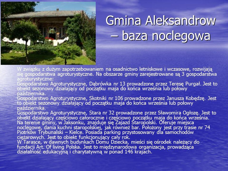 Gmina Aleksandrow – baza noclegowa W związku z dużym zapotrzebowaniem na osadnictwo letniskowe i wczasowe, rozwijają się gospodarstwa agroturystyczne.