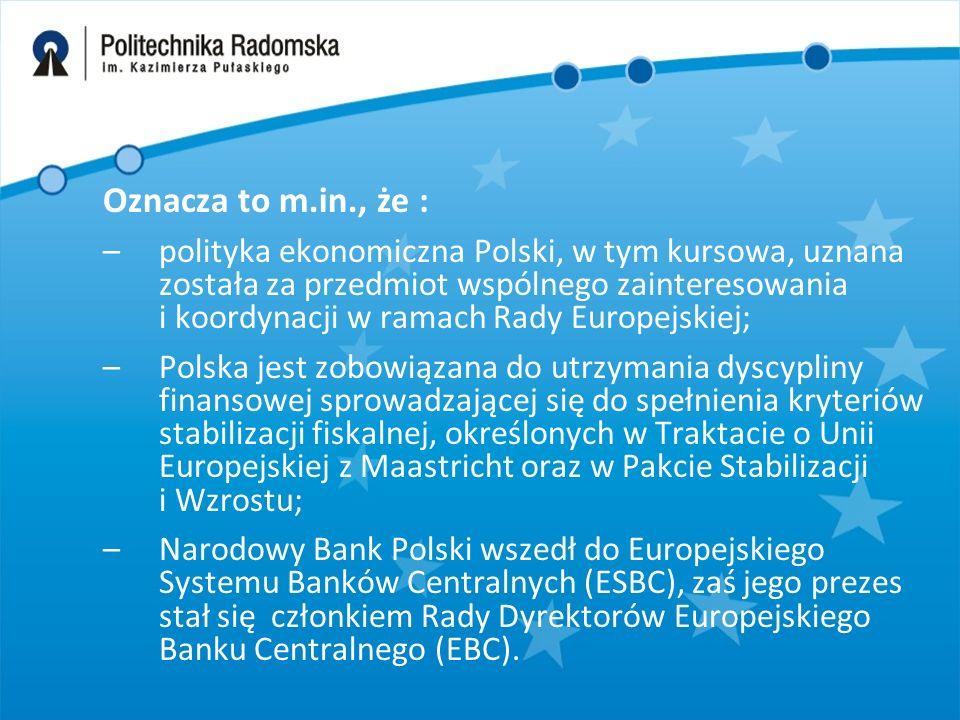 Oznacza to m.in., że : –polityka ekonomiczna Polski, w tym kursowa, uznana została za przedmiot wspólnego zainteresowania i koordynacji w ramach Rady