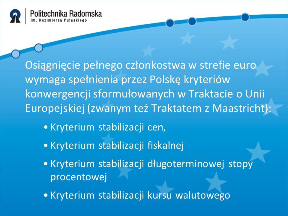 Osiągnięcie pełnego członkostwa w strefie euro wymaga spełnienia przez Polskę kryteriów konwergencji sformułowanych w Traktacie o Unii Europejskiej (zwanym też Traktatem z Maastricht): Kryterium stabilizacji cen, Kryterium stabilizacji fiskalnej Kryterium stabilizacji długoterminowej stopy procentowej Kryterium stabilizacji kursu walutowego