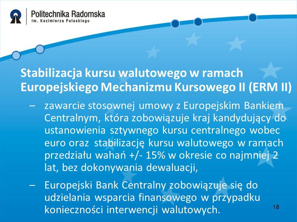 18 Stabilizacja kursu walutowego w ramach Europejskiego Mechanizmu Kursowego II (ERM II) –zawarcie stosownej umowy z Europejskim Bankiem Centralnym, która zobowiązuje kraj kandydujący do ustanowienia sztywnego kursu centralnego wobec euro oraz stabilizację kursu walutowego w ramach przedziału wahań +/- 15% w okresie co najmniej 2 lat, bez dokonywania dewaluacji, –Europejski Bank Centralny zobowiązuje się do udzielania wsparcia finansowego w przypadku konieczności interwencji walutowych.