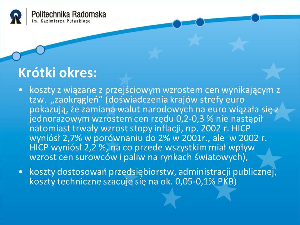"""Krótki okres: koszty z wiązane z przejściowym wzrostem cen wynikającym z tzw. """"zaokrągleń"""" (doświadczenia krajów strefy euro pokazują, że zamiana walu"""