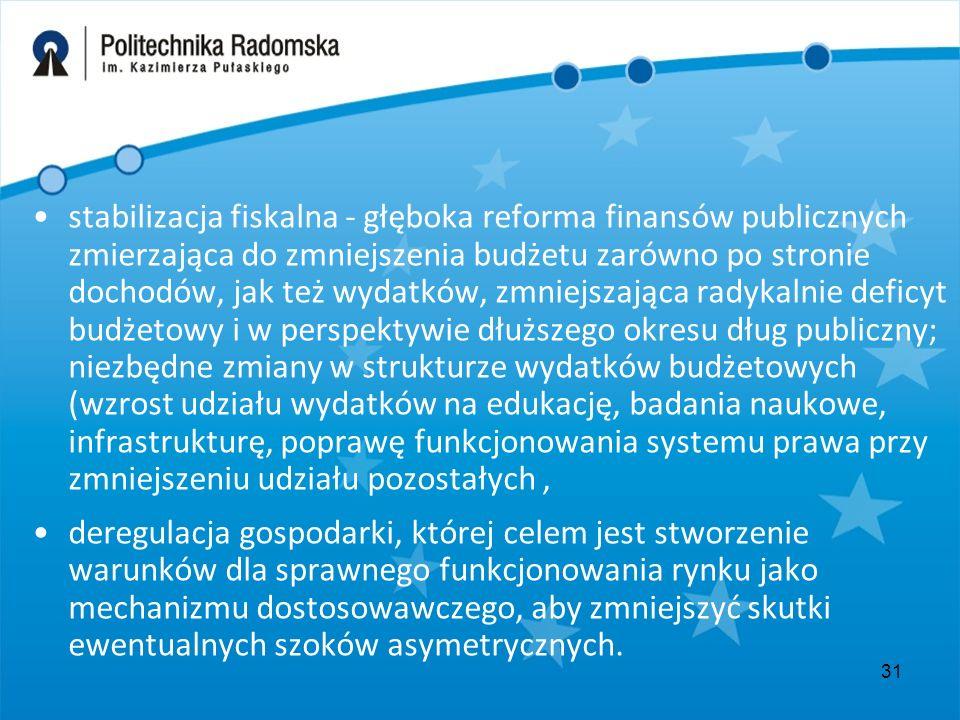31 stabilizacja fiskalna - głęboka reforma finansów publicznych zmierzająca do zmniejszenia budżetu zarówno po stronie dochodów, jak też wydatków, zmn