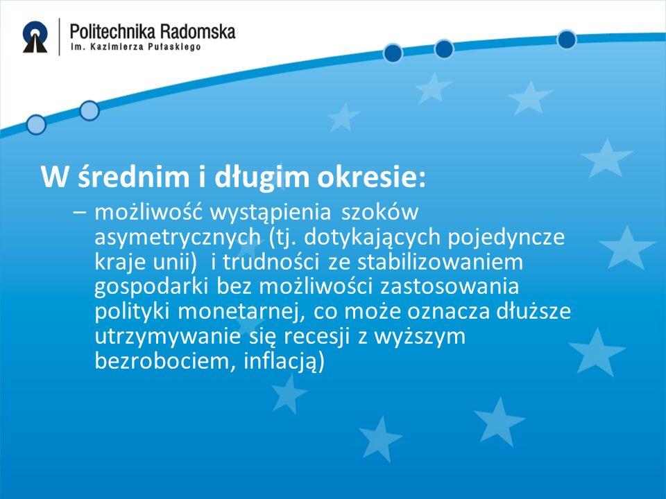 Korzyści z przystąpienia Polski do strefy euro Przystąpienie Polski do strefy euro Zniesienie kursu wymiany Spadek ryzyka makroekonomicznego, integracja rynku finansowego, wzrost konkurencji Eliminacja ryzyka kursowego Ożywienie wymiany handlowej Eliminacja kosztów transakcyjnych Spadek stóp procentowych Wzrost stopy inwestycji Akumulacja kapitału w i wzrost wydajności czynników produkcji Wzrost PKB per capita