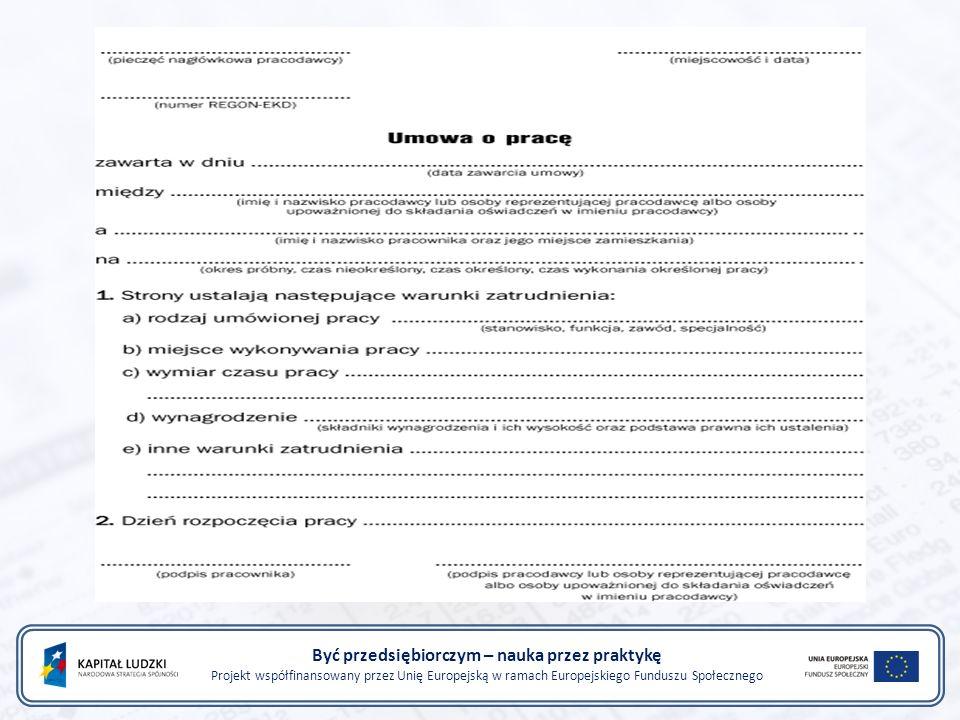 Rodzaje umów o pracę: na okres próbny na czas określony na czas nieokreślony na zastępstwo na czas wykonywania określonej pracy Być przedsiębiorczym – nauka przez praktykę Projekt współfinansowany przez Unię Europejską w ramach Europejskiego Funduszu Społecznego