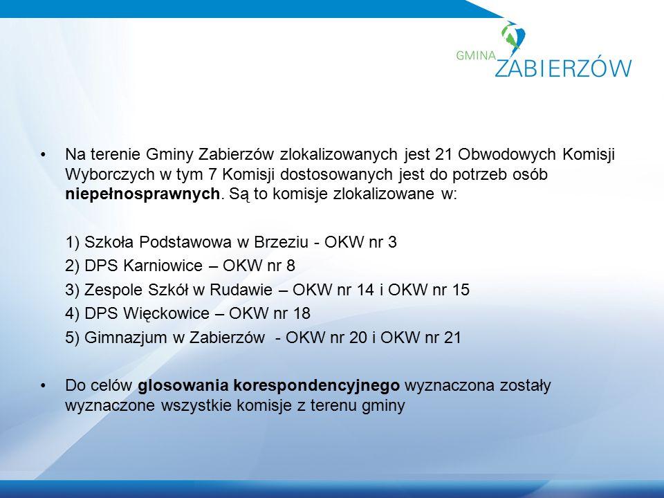 Na terenie Gminy Zabierzów zlokalizowanych jest 21 Obwodowych Komisji Wyborczych w tym 7 Komisji dostosowanych jest do potrzeb osób niepełnosprawnych.