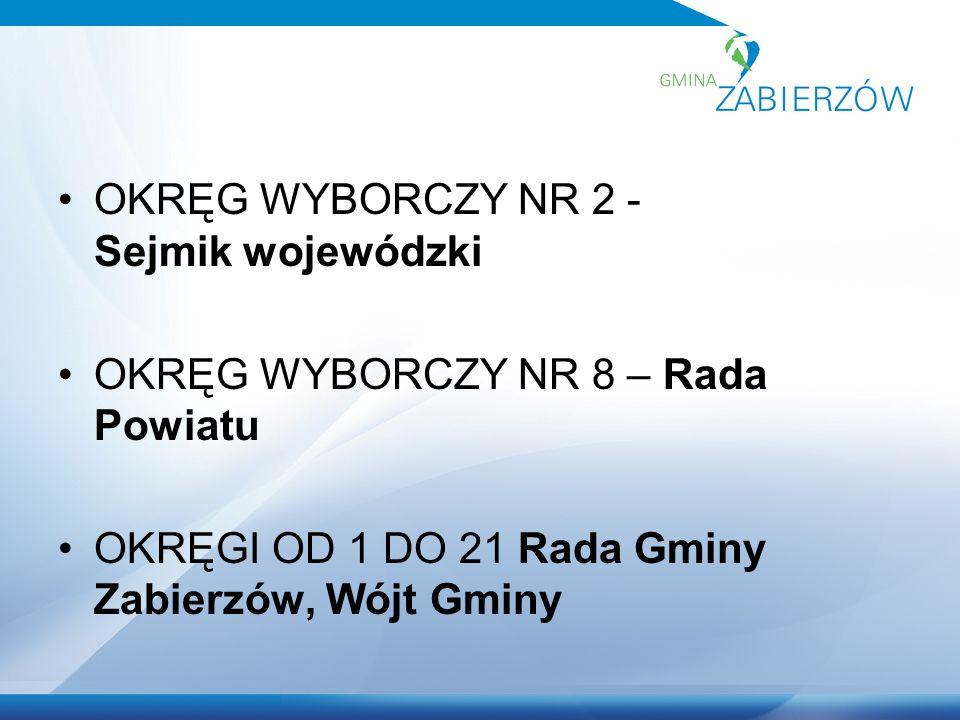 OKRĘG WYBORCZY NR 2 - Sejmik wojewódzki OKRĘG WYBORCZY NR 8 – Rada Powiatu OKRĘGI OD 1 DO 21 Rada Gminy Zabierzów, Wójt Gminy