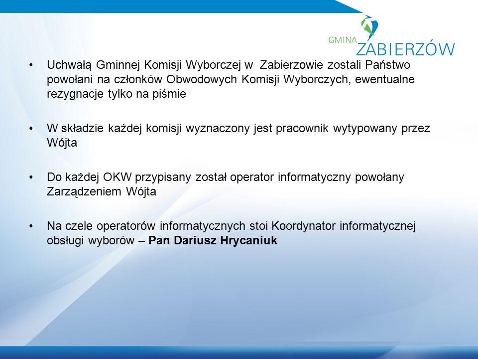 Uchwałą Gminnej Komisji Wyborczej w Zabierzowie zostali Państwo powołani na członków Obwodowych Komisji Wyborczych, ewentualne rezygnacje tylko na piś