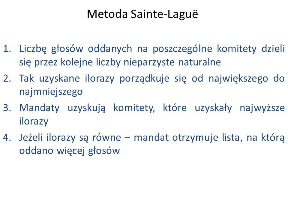 Metoda Sainte-Laguë 1.Liczbę głosów oddanych na poszczególne komitety dzieli się przez kolejne liczby nieparzyste naturalne 2.Tak uzyskane ilorazy porządkuje się od największego do najmniejszego 3.Mandaty uzyskują komitety, które uzyskały najwyższe ilorazy 4.Jeżeli ilorazy są równe – mandat otrzymuje lista, na którą oddano więcej głosów