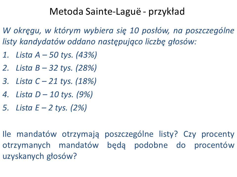 Metoda Sainte-Laguë - przykład W okręgu, w którym wybiera się 10 posłów, na poszczególne listy kandydatów oddano następująco liczbę głosów: 1.Lista A – 50 tys.