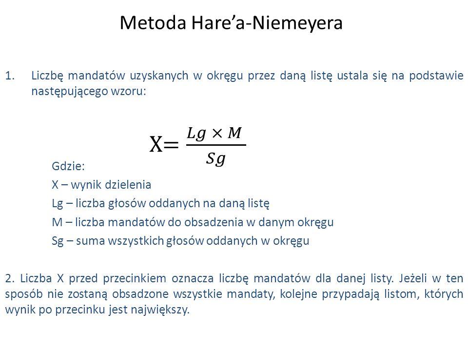 Metoda Hare'a-Niemeyera 1.Liczbę mandatów uzyskanych w okręgu przez daną listę ustala się na podstawie następującego wzoru: Gdzie: X – wynik dzielenia Lg – liczba głosów oddanych na daną listę M – liczba mandatów do obsadzenia w danym okręgu Sg – suma wszystkich głosów oddanych w okręgu 2.