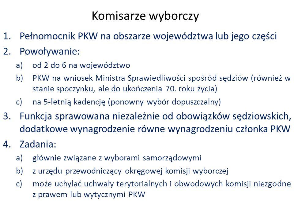 Komisarze wyborczy 1.Pełnomocnik PKW na obszarze województwa lub jego części 2.Powoływanie: a)od 2 do 6 na województwo b)PKW na wniosek Ministra Sprawiedliwości spośród sędziów (również w stanie spoczynku, ale do ukończenia 70.