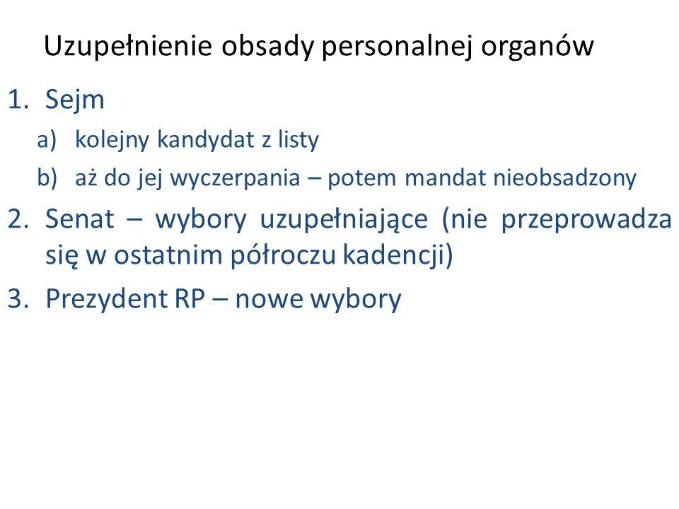 Uzupełnienie obsady personalnej organów 1.Sejm a)kolejny kandydat z listy b)aż do jej wyczerpania – potem mandat nieobsadzony 2.Senat – wybory uzupełniające (nie przeprowadza się w ostatnim półroczu kadencji) 3.Prezydent RP – nowe wybory
