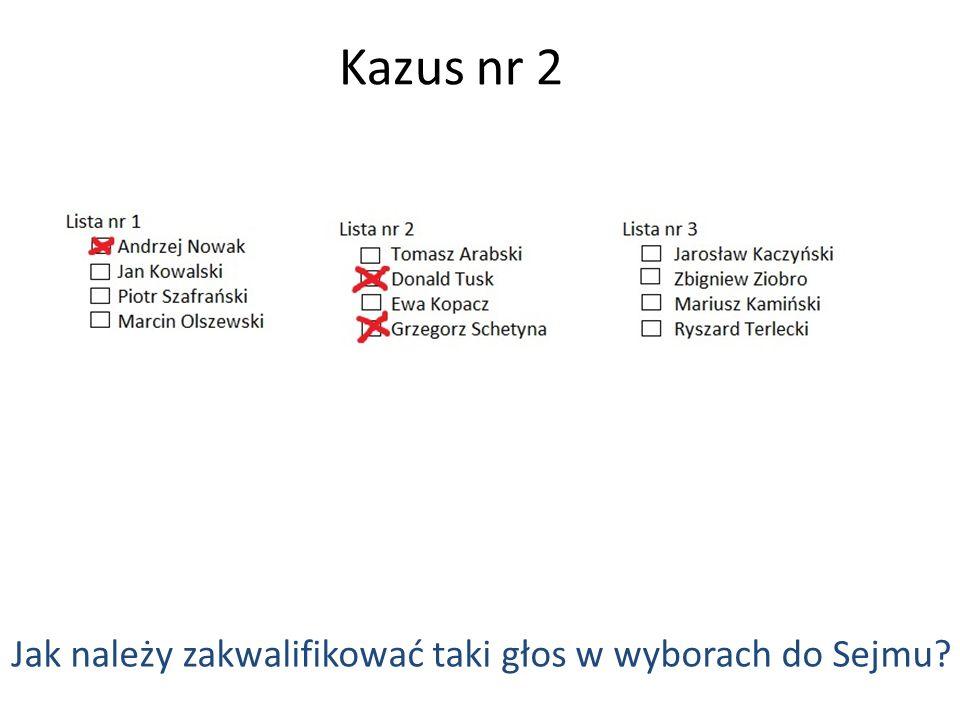 Kazus nr 2 Jak należy zakwalifikować taki głos w wyborach do Sejmu