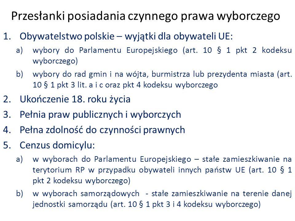 Przesłanki posiadania czynnego prawa wyborczego 1.Obywatelstwo polskie – wyjątki dla obywateli UE: a)wybory do Parlamentu Europejskiego (art.