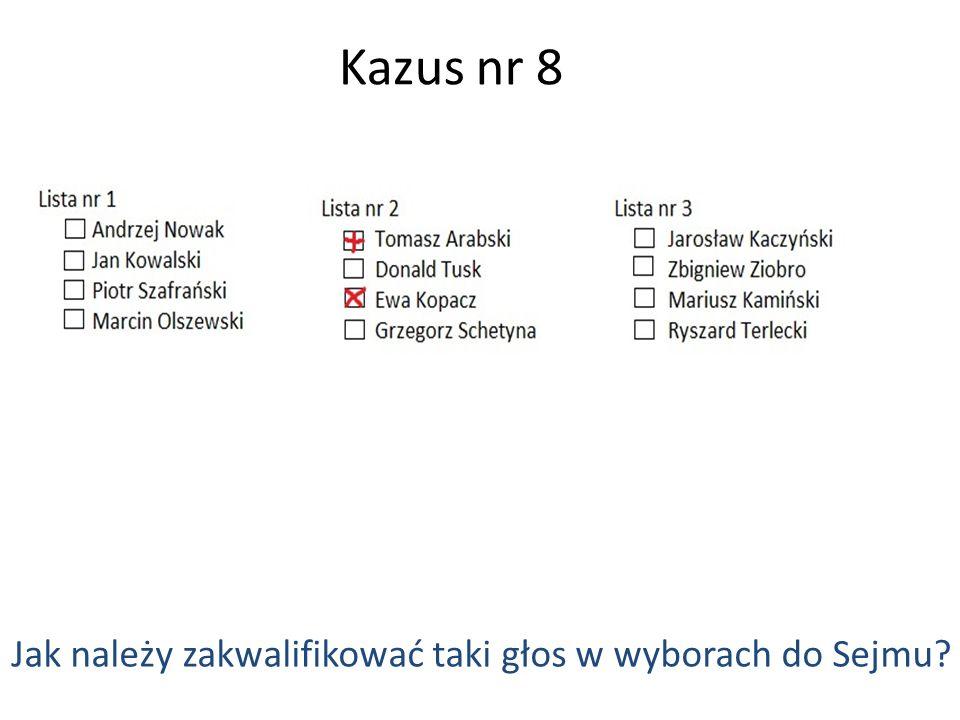 Kazus nr 8 Jak należy zakwalifikować taki głos w wyborach do Sejmu