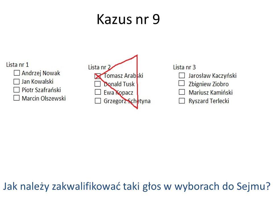 Kazus nr 9 Jak należy zakwalifikować taki głos w wyborach do Sejmu