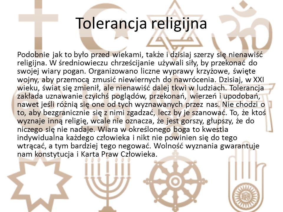 Tolerancja religijna Podobnie jak to było przed wiekami, także i dzisiaj szerzy się nienawiść religijna.