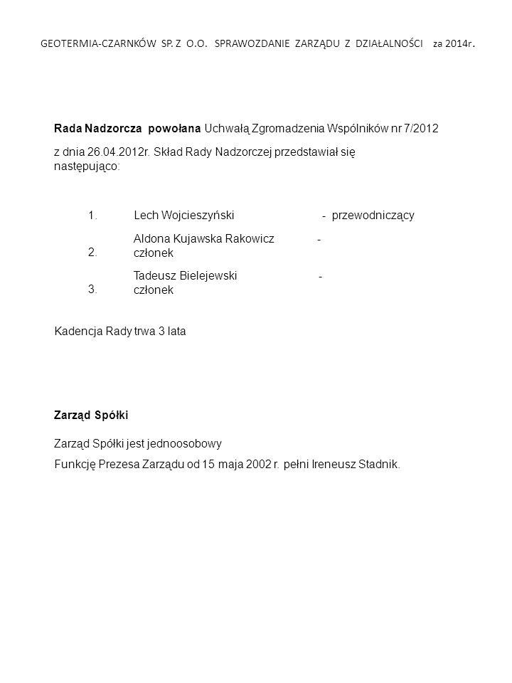 GEOTERMIA-CZARNKÓW SP.Z O.O. SPRAWOZDANIE ZARZĄDU Z DZIAŁALNOŚCI za 2014r.