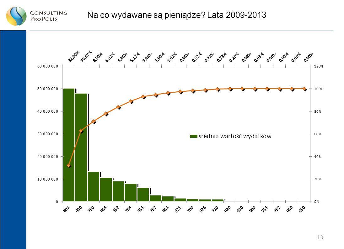 13 Na co wydawane są pieniądze Lata 2009-2013