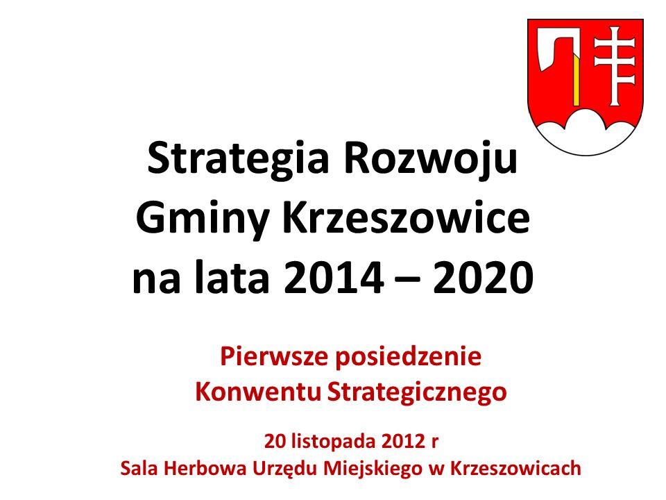 Strategia Rozwoju Gminy Krzeszowice na lata 2014 – 2020 Pierwsze posiedzenie Konwentu Strategicznego 20 listopada 2012 r Sala Herbowa Urzędu Miejskiego w Krzeszowicach