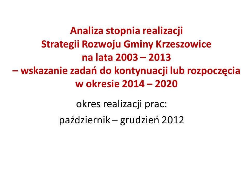 Analiza stopnia realizacji Strategii Rozwoju Gminy Krzeszowice na lata 2003 – 2013 – wskazanie zadań do kontynuacji lub rozpoczęcia w okresie 2014 – 2020 okres realizacji prac: październik – grudzień 2012