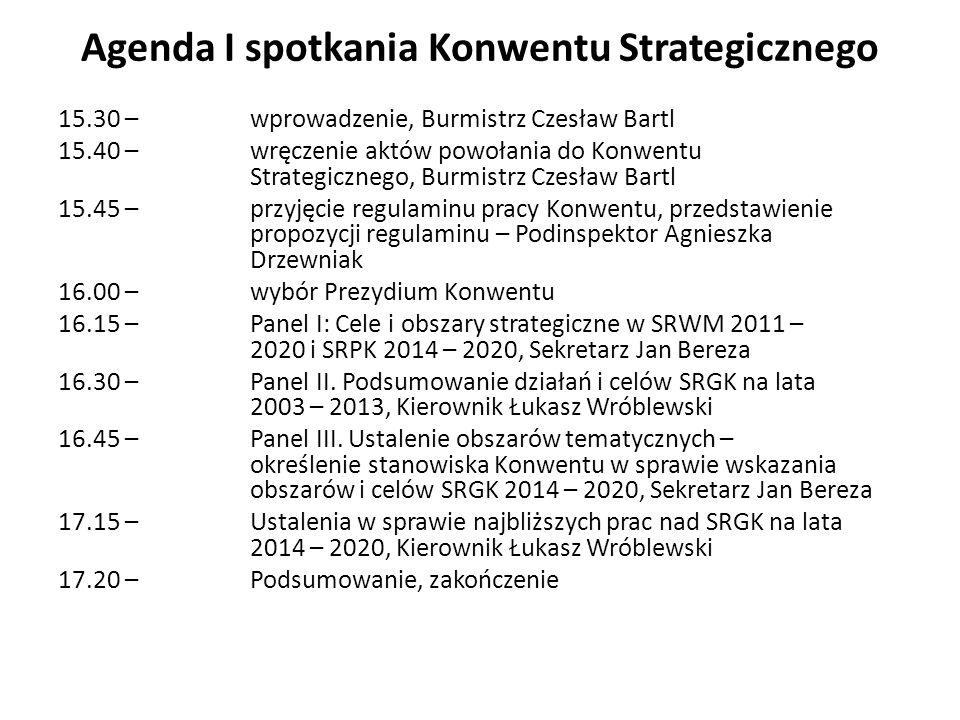 Agenda I spotkania Konwentu Strategicznego 15.30 – wprowadzenie, Burmistrz Czesław Bartl 15.40 – wręczenie aktów powołania do Konwentu Strategicznego, Burmistrz Czesław Bartl 15.45 – przyjęcie regulaminu pracy Konwentu, przedstawienie propozycji regulaminu – Podinspektor Agnieszka Drzewniak 16.00 –wybór Prezydium Konwentu 16.15 – Panel I: Cele i obszary strategiczne w SRWM 2011 – 2020 i SRPK 2014 – 2020, Sekretarz Jan Bereza 16.30 – Panel II.