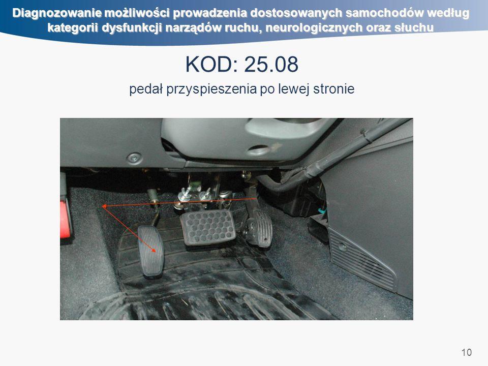 10 Diagnozowanie możliwości prowadzenia dostosowanych samochodów według kategorii dysfunkcji narządów ruchu, neurologicznych oraz słuchu KOD: 25.08 pe