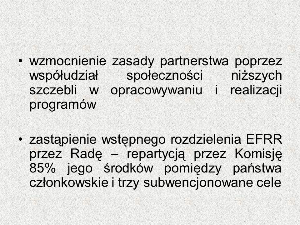 wzmocnienie zasady partnerstwa poprzez współudział społeczności niższych szczebli w opracowywaniu i realizacji programów zastąpienie wstępnego rozdzie