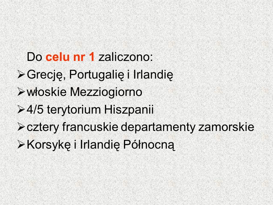 Do celu nr 1 zaliczono:  Grecję, Portugalię i Irlandię  włoskie Mezziogiorno  4/5 terytorium Hiszpanii  cztery francuskie departamenty zamorskie 