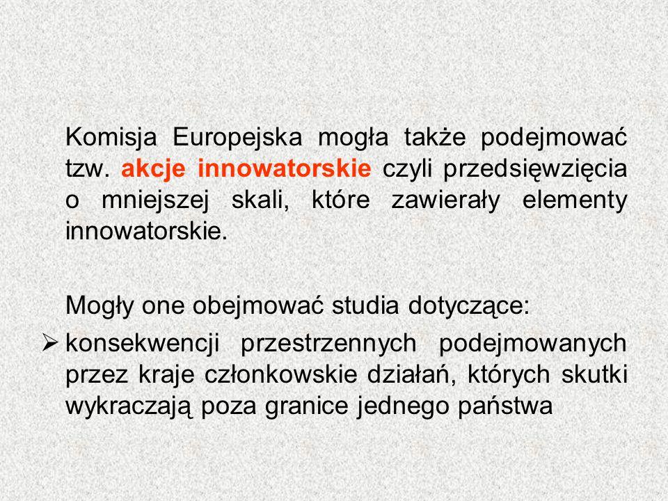 Komisja Europejska mogła także podejmować tzw. akcje innowatorskie czyli przedsięwzięcia o mniejszej skali, które zawierały elementy innowatorskie. Mo