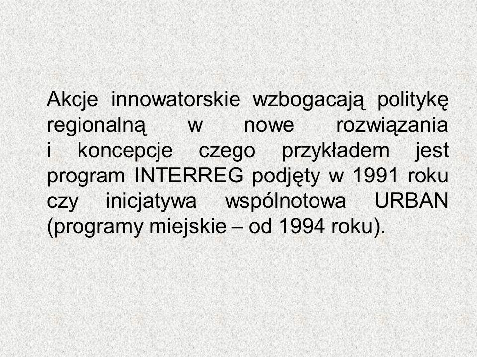 Akcje innowatorskie wzbogacają politykę regionalną w nowe rozwiązania i koncepcje czego przykładem jest program INTERREG podjęty w 1991 roku czy inicj