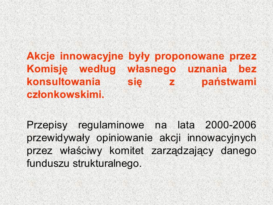 Akcje innowacyjne były proponowane przez Komisję według własnego uznania bez konsultowania się z państwami członkowskimi. Przepisy regulaminowe na lat