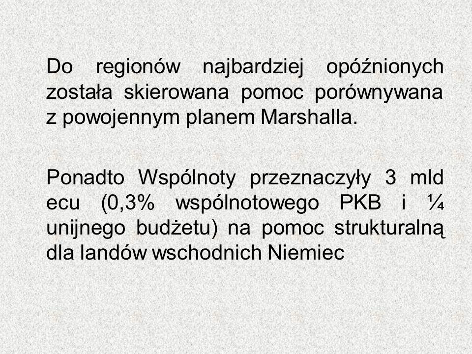 Do regionów najbardziej opóźnionych została skierowana pomoc porównywana z powojennym planem Marshalla. Ponadto Wspólnoty przeznaczyły 3 mld ecu (0,3%